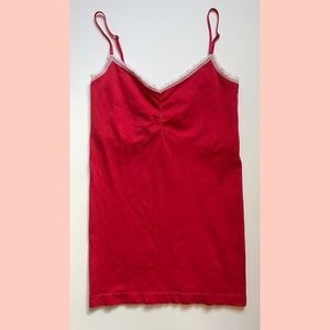 Red Shelf Bra Lined Cami with White Lace Trim